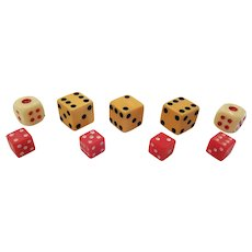 Lot of 9 Vintage Dice Butterscotch Bakelite, Red