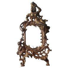 Antique Cherub & Lady Cast Metal Picture Frame