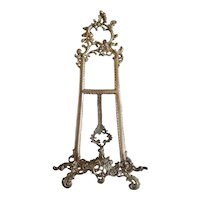 Ornate Cast Metal Tabletop Easel for Plate or Picture