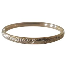 Victorian Repousse Gold Filled Narrow Hinged Bangle Bracelet