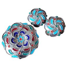 Greek Pure Silver & Enamel Brooch & Earrings Set Marked 1000