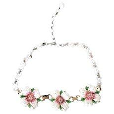 Rare 1940s CORO Rhinestone & Enamel Flower Necklace