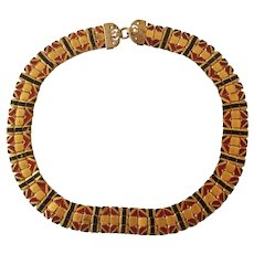 Art Deco Enamel Mesh Necklace