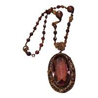 Victorian Czech Amethyst Glass Pendant Necklace