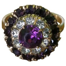 Old 14K Rolled Gold Paste Amethyst Purple Ring 6.5