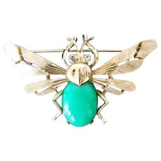 Vintage CROWN TRIFARI Flying Insect Bug Bee Green Belly Rhinestone Brooch