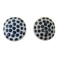 Weiss Ivory Thermoplastic Black Rhinestone Earrings