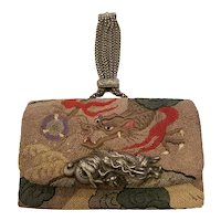 Japanese Tobacco Pouch Embroidered Dragon Wallet Clutch Purse