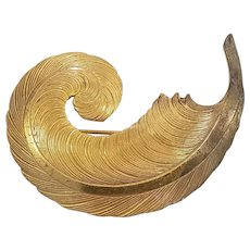 Miriam Haskell Gold Tone Feather Plume Brooch