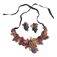 Vintage Millinery Grapes Fruit Necklace & Earrings Set