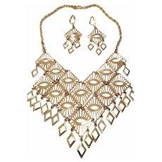 Sarah Coventry Mandarin Magic Bib Necklace & Earrings Set