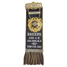 Bakers Union Badge, Medal with Ribbon Whitehead & Hoag