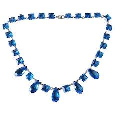 Art Deco Czech Blue Open Back Crystal Necklace