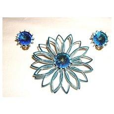 Vintage Flower Pin w/ Matching Earrings Blue Enamel & Rivoli Rhinestones