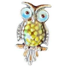 Sterling Silver Enamel Marcasite Owl Pin Marked Germany