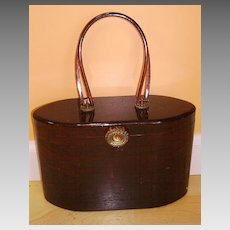Vintage Signed WILARDY Lucite Purse Handbag Marble Root Beer