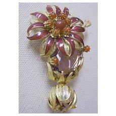 EUGENE 1960s Brooch with Enamel Flower & Stones