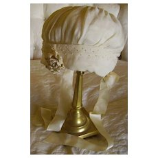 Beautiful 1920's Cream Silk Baby Bonnet