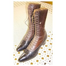 Victorian Ladies Brown & Black Two Tone All Leather Boots