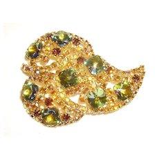 Beautiful Peacock Rivoli & Aurora Borealis Rhinestone Leaf Pin