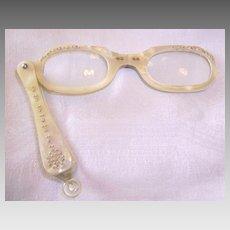 Vintage Pearl Lucite Lorgnette Opera Glasses with Rhinestones