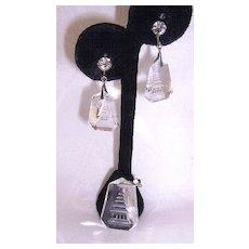 Reverse Carved Rock Crystal & Silver Pagoda Earrings Pendant Set