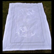 Hand Embroidered Chinese Dragon 63 x 91 Inch Tablecloth