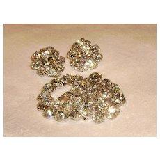 Dazzling Eisenberg Clear Rhinestone Brooch & Earrings Set
