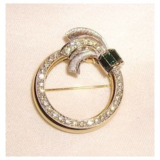 Vintage Day to Night Mechanical Rhinestone Circle Pin