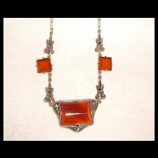 Art Deco Carnelian & Marcasite Necklace on Paper Clip Chain