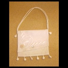 Arts & Crafts Crewel Embroidery Linen Purse Silk Lined