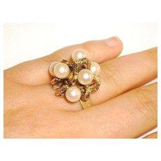 Vintage 14K Gold & Cultured Pearl Cocktail Ring Size 7.5