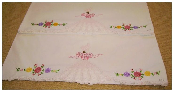Pair Of Vintage Embroidery Crochet Southern Belle Pillowcases