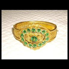 Victorian Revival Green Glass Rhinestone & Brass Bangle Bracelet