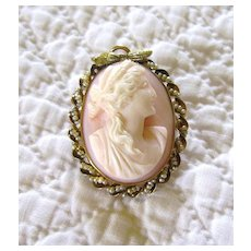 Angel Skin Coral Cameo in 10K Gold & Seed Pearl Mounting