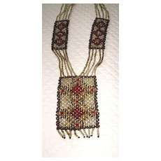 Woven Glass Seed Bead Flapper Era Native American Necklace