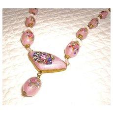 Beautiful Art Deco Art Glass Beaded Necklace