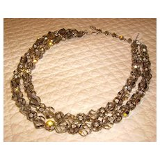 VENDOME Double Strand Rhinestone & Crystal Bead Necklace