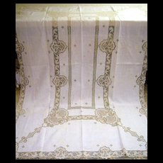 Linen & Reticella Needle Lace & Embroidery Tablecloth