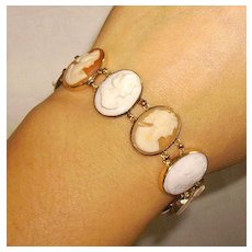 14K Angel Skin Coral and Shell Cameo Bracelet