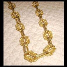 Hattie Carnegie Faux Seed Pearl Link Choker Necklace