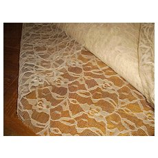Vintage Uncut Chantilly Net Lace Yardage (11 yards)