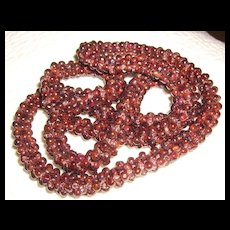 Strand of Woven Garnets Necklace