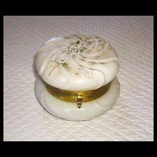Beautiful Wavecrest Art Glass Dresser Jar w/ Original Lining