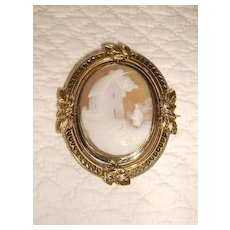 Victorian Rebecca at the Well Scenic Cameo Locket Brooch