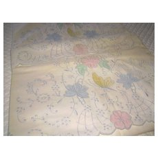 Pair of Hand Embroidered Madeira Pillowcases NOS