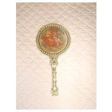 Vintage FLORENZA Miniature Hand Mirror w/ Scene