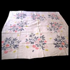 Vintage Signed Ivan Bartlett Printed Linen Tablecloth