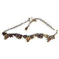 Czech Rhinestone Grape Necklace