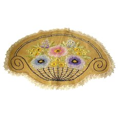 Arts & Crafts Embroidered Flower Basket Doily